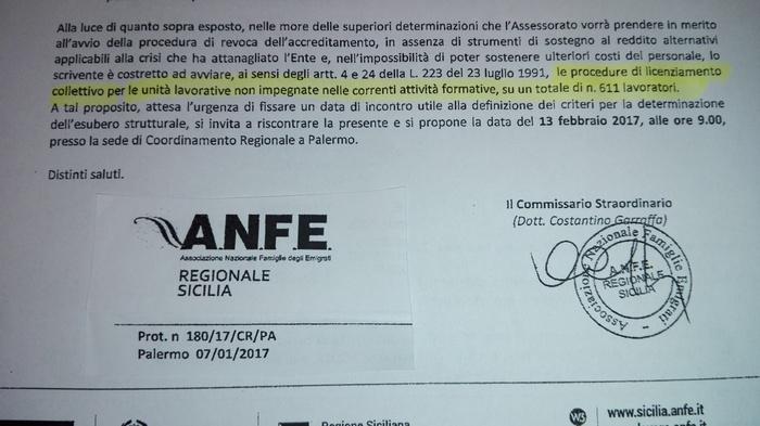Formazione: commissario Anfe, avvio licenziamento collettivo