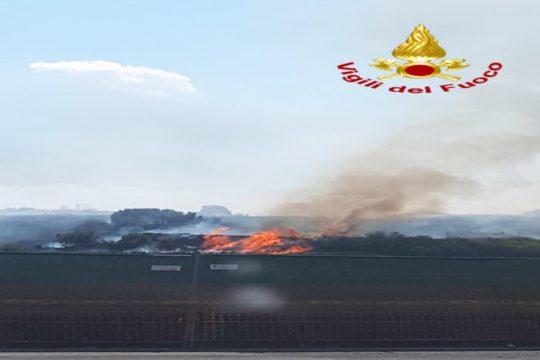 Un incendio è divampato questo pomeriggio, intorno alle 15:00, a Gravina di Catania, tra la tangenziale e via Coccia.