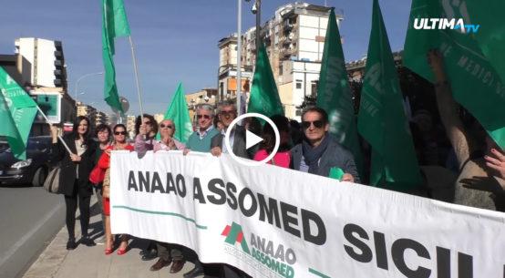Questa mattina a Palermo, davanti la sede dell'assessorato regionale alla salute, si è svolta la manifestazione di protesta dei medici.